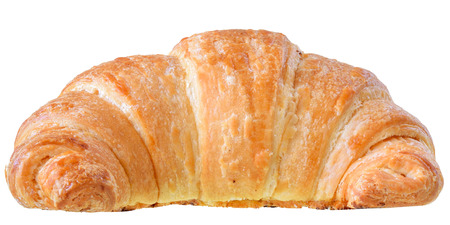 Traditional french pastry croissant isolated on white background.