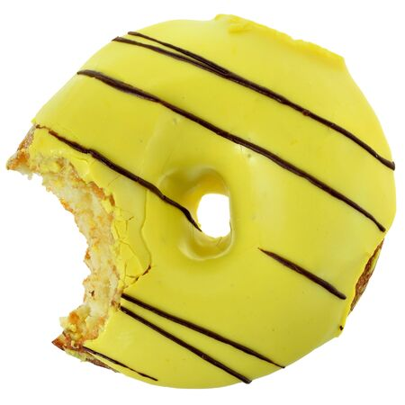 Bitten banana donut covered with yellow icing isolated on a white background. top view 版權商用圖片
