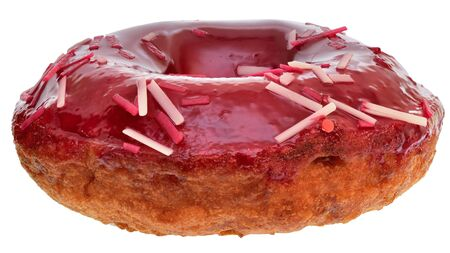 Cherry donut covered with red glaze isolated on a white background. 版權商用圖片