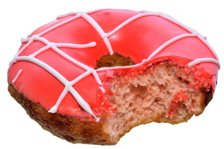 Bitten strawberry donut covered with pink icing top view Isolated on white background. 版權商用圖片