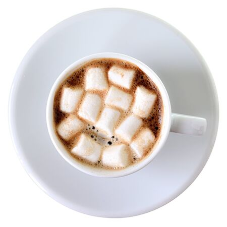 Cup of coffee with marshmallows top view isolated on a white background. Stock fotó