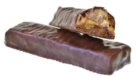 Chocolate bar with peanut, caramel and puffed rice isolated on a white background.