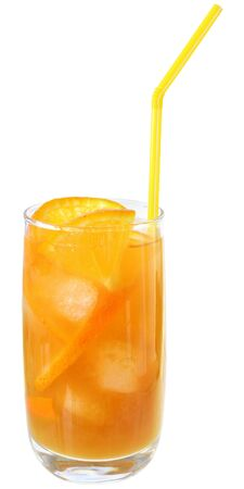 Cocktail with orange juice and ice cubes isolated on white background.