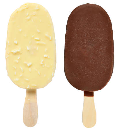 Two ice cream on a stick covered in dark and white chocolate glaze isolated