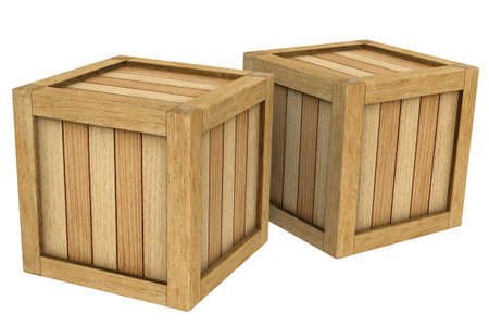 3d image two wooden boxes isolated on a white background. Reklamní fotografie