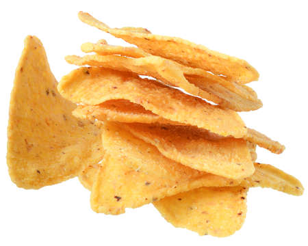 Heap of corn chips isolated on white background.