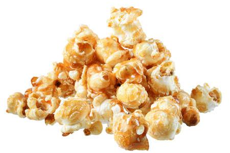 Sweet popcorn in caramel isolated on white background.