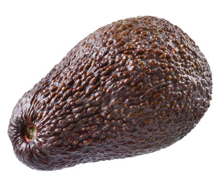 Full avocado close up isolated on a white background.