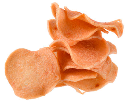 Heap of meat-stuffed crisps isolated on a white background.