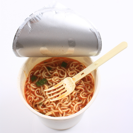 A bowl of instant noodles photo