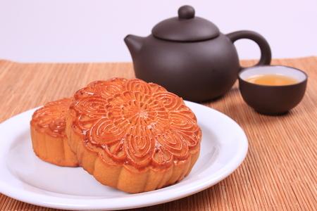 Moon cake and tea photo