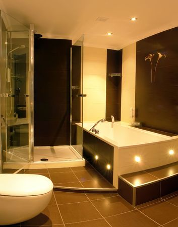 shower stall: A view of a modern bathroom with a glass enclosed shower stall and a hot tub.
