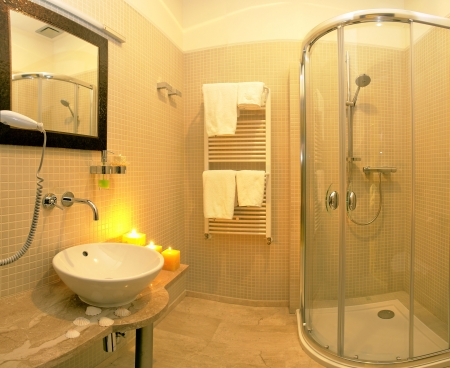 shower stall: Interiors of a luxury and modern bathroom.