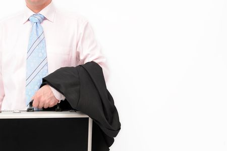 Close up of businessmans body with hand holding a briefcase and jacket. Isolated on a white background. photo
