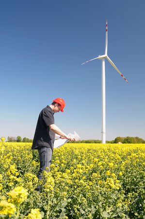 windy energy: Renewable energy constructor standing on yellow field of rape behind blue sky with windmill.
