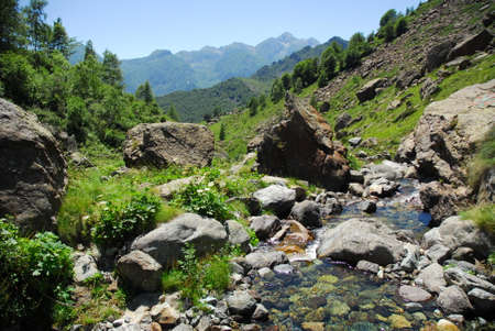 Clear and fresh waters flowing in alpine torrents of Aosta valley, Italy. Stock fotó