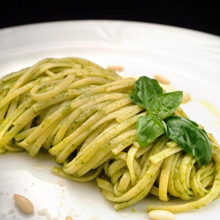 Italian food recipes, traditional pasta with Genoese pesto sauce Archivio Fotografico