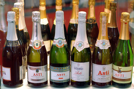 Turin, Piedmont / Italy. -10 / 24 / 2009- The Wineshow Fair. Bottles of sparkling white wine Asti.