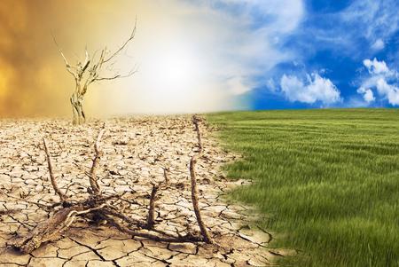 scena konceptualna: metamorfoza naszej planety, przejście od zielonego środowiska do wrogiego i suchego klimatu w wyniku zmian klimatycznych