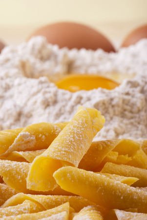 homemade pasta with flour and fresh eggs on the kitchen table. garganelli: typical traditional pasta from the Emilia Romagna region in Italy