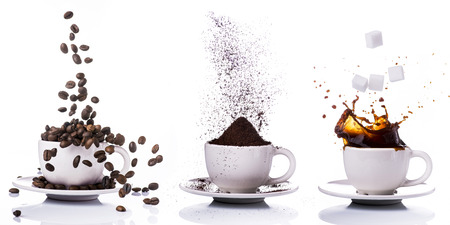 three little cups of different types of coffee:coffee beans,ground  and with liquid coffee.