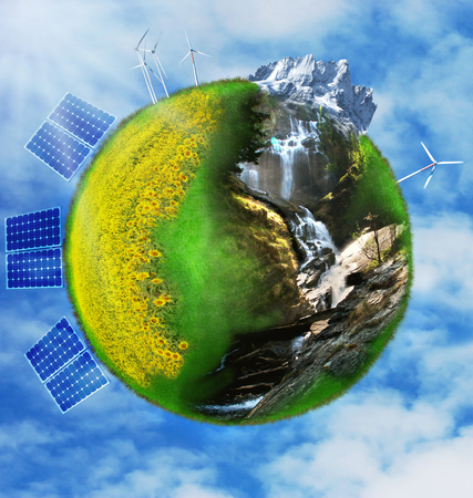 terrestrial globe formed by an ecological nature and sustainable alternative energy Imagens