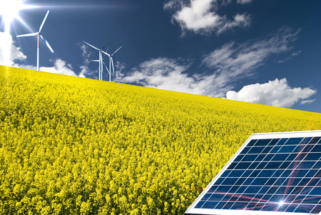 summer landscape with canola field, solar panel in the foreground and wind turbines in the background