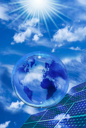 solar landscape with blue sky. in the foreground a transparent bubble with globe and solar panels Imagens