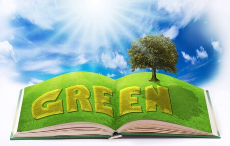 pages of an open book illustrated with a green lawn and an ecological nature