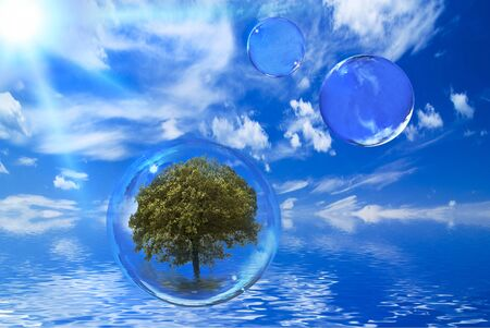 solar landscape with sky and blue sea. in the foreground a transparent bubble with green tree Imagens