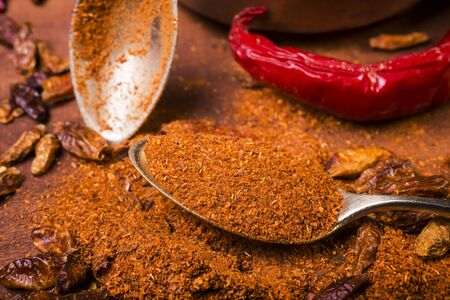 still life, spicy dry and ground chili in the spoon in closeup