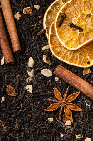 black tea leaves flavored with cinnamon and spices