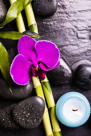 spa.Group of black stones with a purple orchid flower, bamboo leaves and scented candles on a dark background Stock fotó