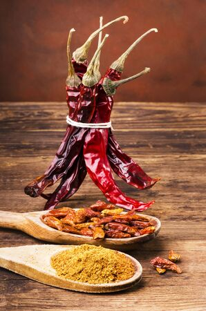 Still life. Types of spicy chili, dried and ground Stock fotó