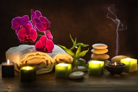 wellness center, beauty and body care with aromatherapy and massage therapy