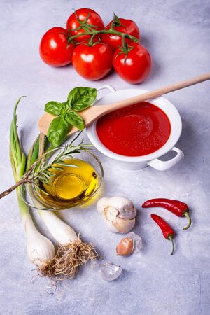 on a rustic gray background, a white ceramic bowl with tomato sauce, basil leaves, cluster tomatoes, olive oil and various spices Banco de Imagens