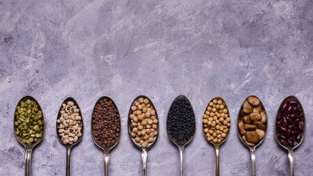 assortment of dried legumes in spoons arranged in a row with top view on a gray textured background. copy space Stok Fotoğraf