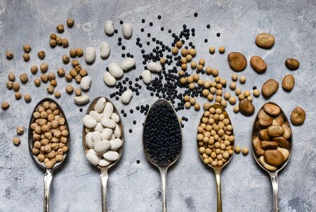 assortment of dried legumes in spoons arranged in a row with top view on a gray textured background Zdjęcie Seryjne