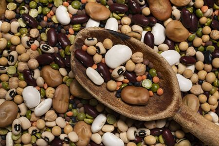 Background with variety of raw and colorful dry legumes rich in protein suitable for a healthy diet Zdjęcie Seryjne