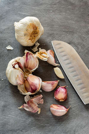 on a gray background texture, bulb and cloves of garlic with knife. still life