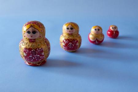 matriosca: Four matrioska in a row Stock Photo