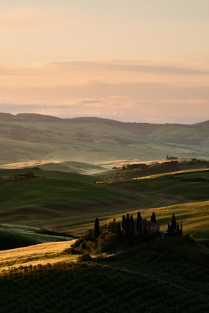 val d'orcia: A beautiful sunrise in Val dOrcia Stock Photo