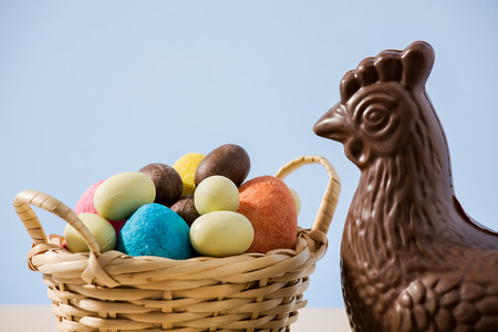 blue background: Closeup of easter chocolate chicken and colored eggs in a small basket with blue background