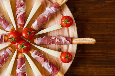 Close up of a typical Italian cutting board seen from above