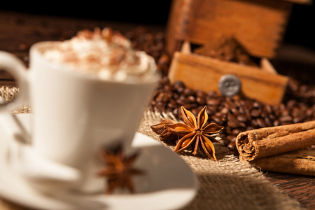Close-up on star anise and cinnamon sticks with coffee cup and whipped cream Stock Photo