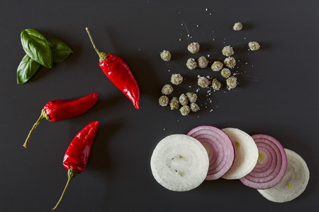Raw organic vegetables for healthily cooking seen from above Stock Photo
