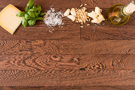 Natural ingredients for pesto genovese seen from above