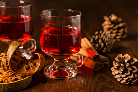 alcoholic drink: Alcoholic punch drink with dried orange fruit and cinnamon