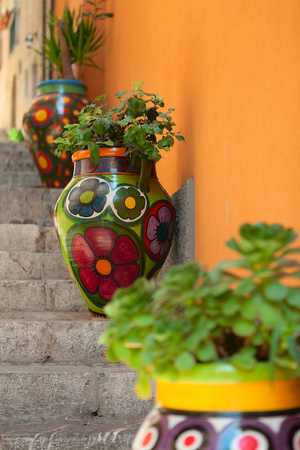 Traditional Taormina Painted Vases In The Stairways Sicily Stock