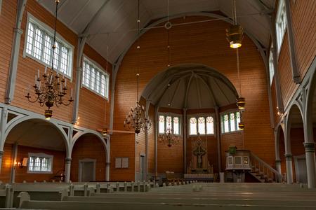 Inside of the Buksnes church in Gravdal city in Lofoten islands, Norway Editorial